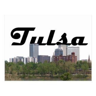 Tulsa OK Skyline with Tulsa in the Sky Postcard