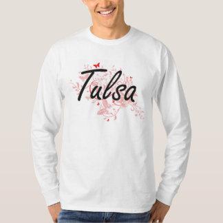 Tulsa Oklahoma City Artistic design with butterfli Tee Shirts