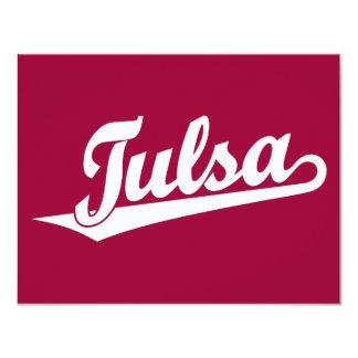 Tulsa script logo in white 11 cm x 14 cm invitation card