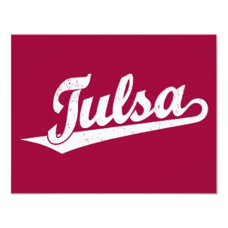 Tulsa script logo in white distressed 11 cm x 14 cm invitation card