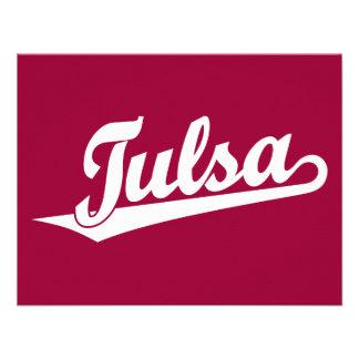 Tulsa script logo in white announcements