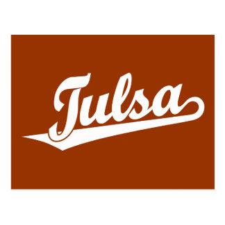 Tulsa script logo in white postcard