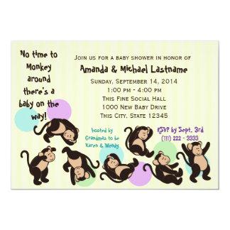 Tumble Monkey Baby Shower 13 Cm X 18 Cm Invitation Card