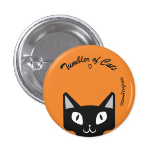 TumblerofCats button- Black on orange TumblerCat 3 Cm Round Badge