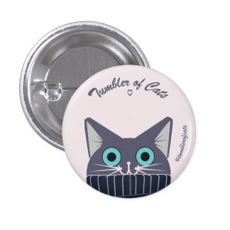TumblerofCats button - Blue TumblerCat