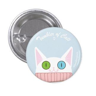 TumblerofCats button - White TumblerCat babyblue