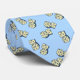 Tumbling Dice Gambling Sky Blue Two-sided Tie