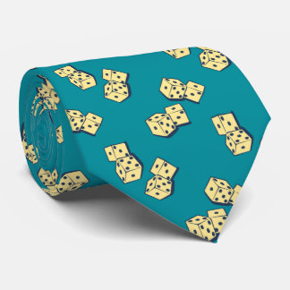 Tumbling Dice Gambling Teal Two-sided Tie