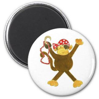 Tumbling Monkey Pirate 6 Cm Round Magnet