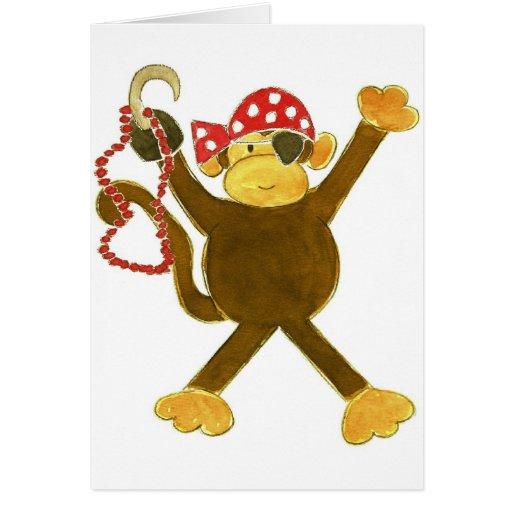 Tumbling Monkey Pirate Greeting Card
