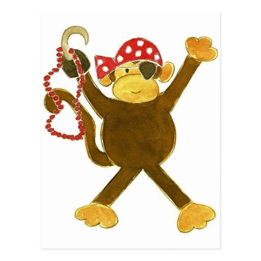 Tumbling Monkey Pirate Post Cards