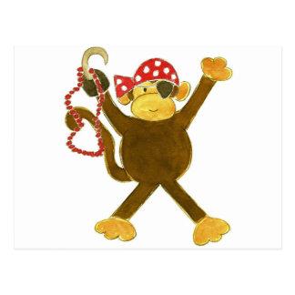 Tumbling Monkey Pirate Postcard