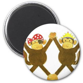 Tumbling Monkey Princess & Monkey Pirate 6 Cm Round Magnet