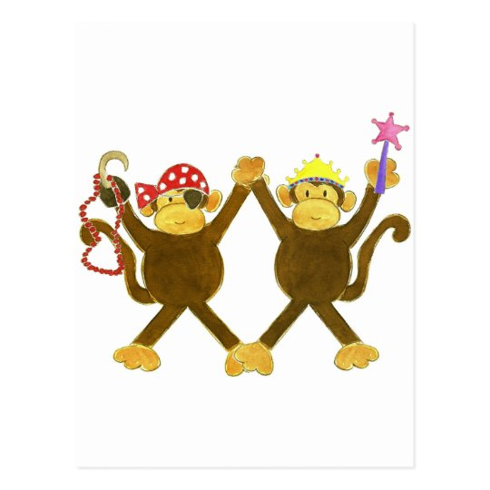 Tumbling Monkey Princess & Monkey Pirate Postcard
