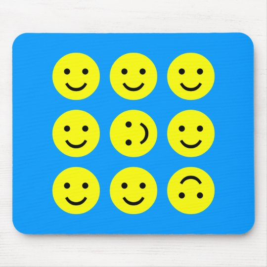 Tumbling Smileys - On Mid-Blue Mouse Mat