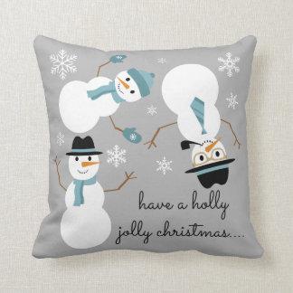 "Tumbling Snowman ""have a holly jolly christmas..."" Throw Pillows"