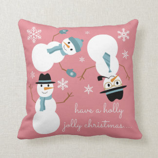 "Tumbling Snowman ""have a holly jolly christmas..."" Pillows"