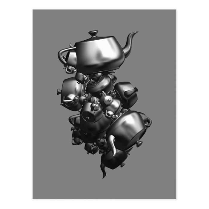 Tumbling teapots fractal post card