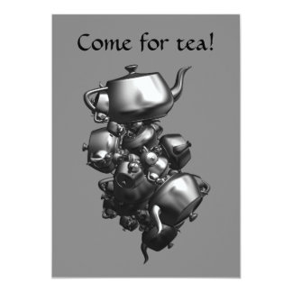 Tumbling teapots fractal tea party invitations