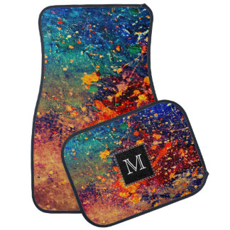 Tumultuous Auto | Monogram Chic Rainbow Splatter Car Mat