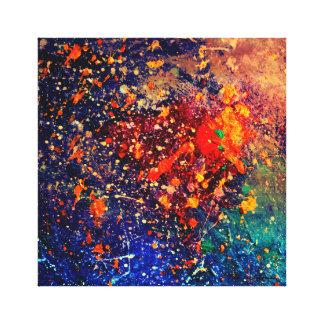 Tumultuous Bright Nebula Rainbow Colorful Splatter Canvas Print