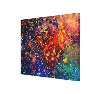 Tumultuous Bright Rainbow Modern Original Abstract Canvas Print