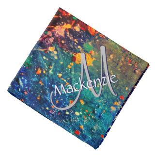 Tumultuous Bright Rainbow Splatter Abstract Kerchief