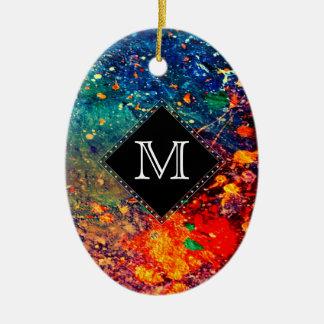 Tumultuous Holiday | Monogram Rainbow Splatter Christmas Ornament