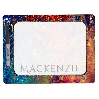 Tumultuous Kitchen | Name Chic Rainbow Splatter Dry Erase Board With Key Ring Holder