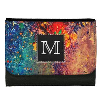 Tumultuous   Monogram Rainbow Splatter Abstract Wallets