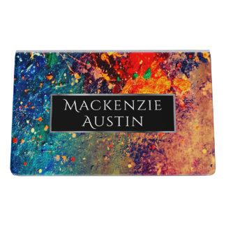 Tumultuous Office | Monogram Chic Rainbow Splatter Desk Business Card Holder