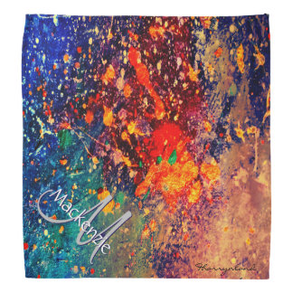 Tumultuous Rainbow Splatter Nebula Cloud Monogram Kerchief