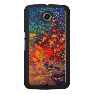 Tumultuous Stylish Rainbow Splatter Abstract Chic Wood Phone Case