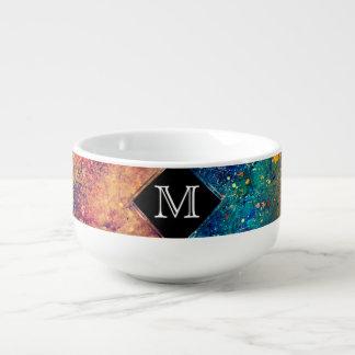 Tumultuous Table | Monogram Bold Rainbow Splatter Soup Mug