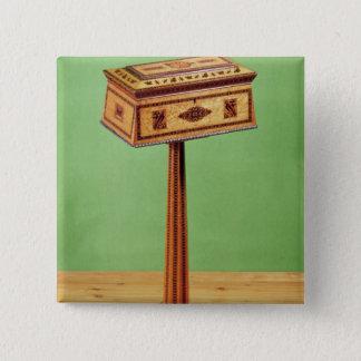 Tunbridge-ware tea poy 15 cm square badge