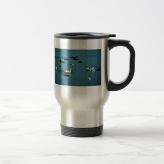 Tundra Swans on Water Stainless Steel Travel Mug