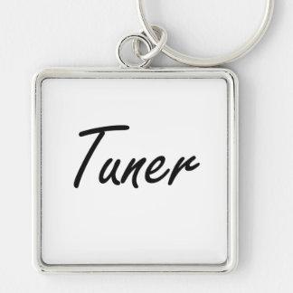 Tuner Artistic Job Design Silver-Colored Square Keychain