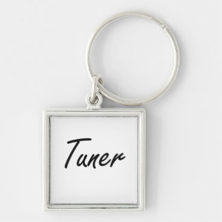 Tuner Artistic Job Design Silver-Colored Square Key Ring
