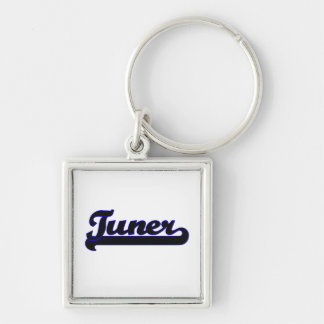 Tuner Classic Job Design Silver-Colored Square Key Ring