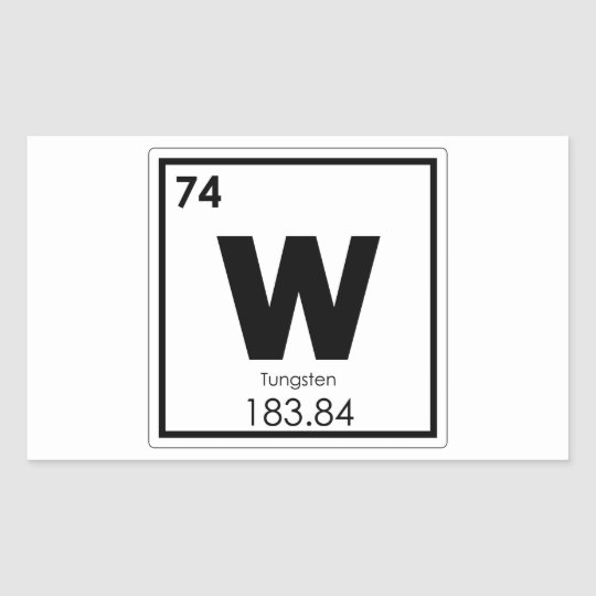 Tungsten Chemical Element Symbol Chemistry Formula Rectangular