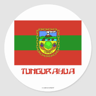 Tungurahua flag with Name Classic Round Sticker