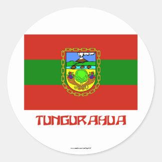 Tungurahua flag with Name Round Sticker