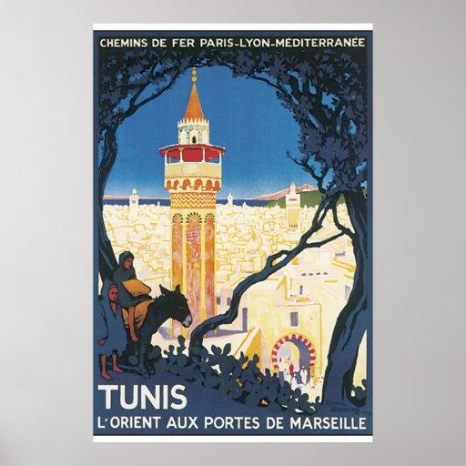 Tunis Vintage Travel Poster