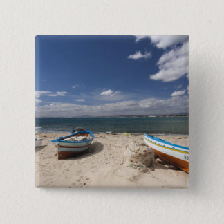 Tunisia, Cap Bon, Hammamet, fishing boats on 15 Cm Square Badge