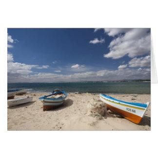 Tunisia, Cap Bon, Hammamet, fishing boats on Card