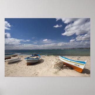 Tunisia, Cap Bon, Hammamet, fishing boats on Poster