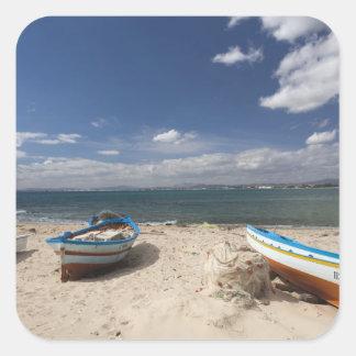 Tunisia, Cap Bon, Hammamet, fishing boats on Square Sticker