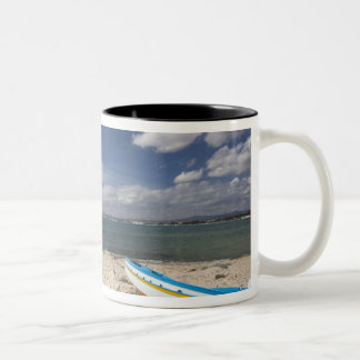 Tunisia, Cap Bon, Hammamet, fishing boats on Two-Tone Coffee Mug