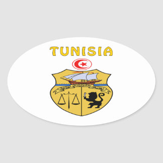 Tunisia Coat Of Arms Oval Sticker