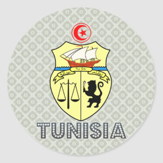 Tunisia Coat of Arms Round Stickers